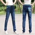 American Apparel Boyfriend Jeans Para Mujeres El Nuevo Tamaño de Las Mujeres Delgadas Pantalones Vaqueros de Cintura Elástica Chica Suelto Recto Pantalones Zichao