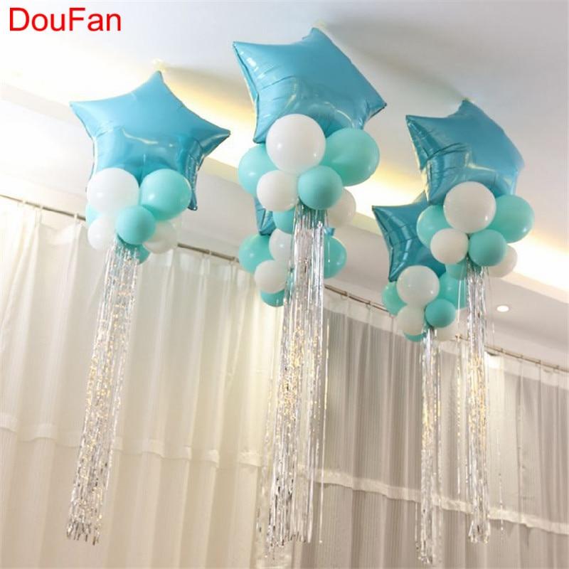 DouFan Star Hart Ballonnen Folie Aluminium Blauw Ballon - Feestversiering en feestartikelen
