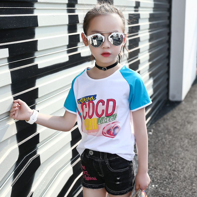 luoyamy Kids Female Cotton Sport T shirt Girls Summer Patchwork Letter  Printed Clothes Children Casual Tops White Tees-in Tees from Mother   Kids  on ... 26dd0ac63ce2
