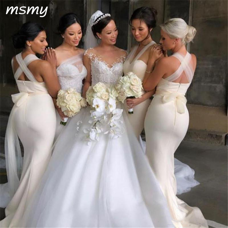 Elegant Ivory   Bridesmaids     Dresses   Mermaid Sweetheart Backless With Sheer Strap Long Maid of Honor Gowns Plus Size