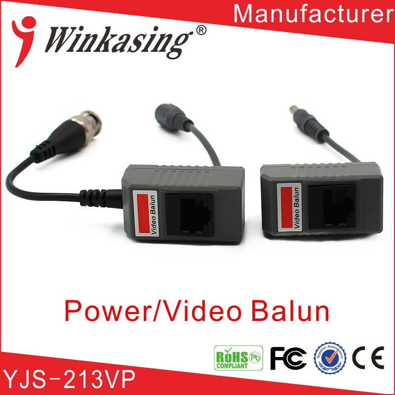 One Channel Passive Video Balun With Power single channel passive video balun grey silver 2 pcs