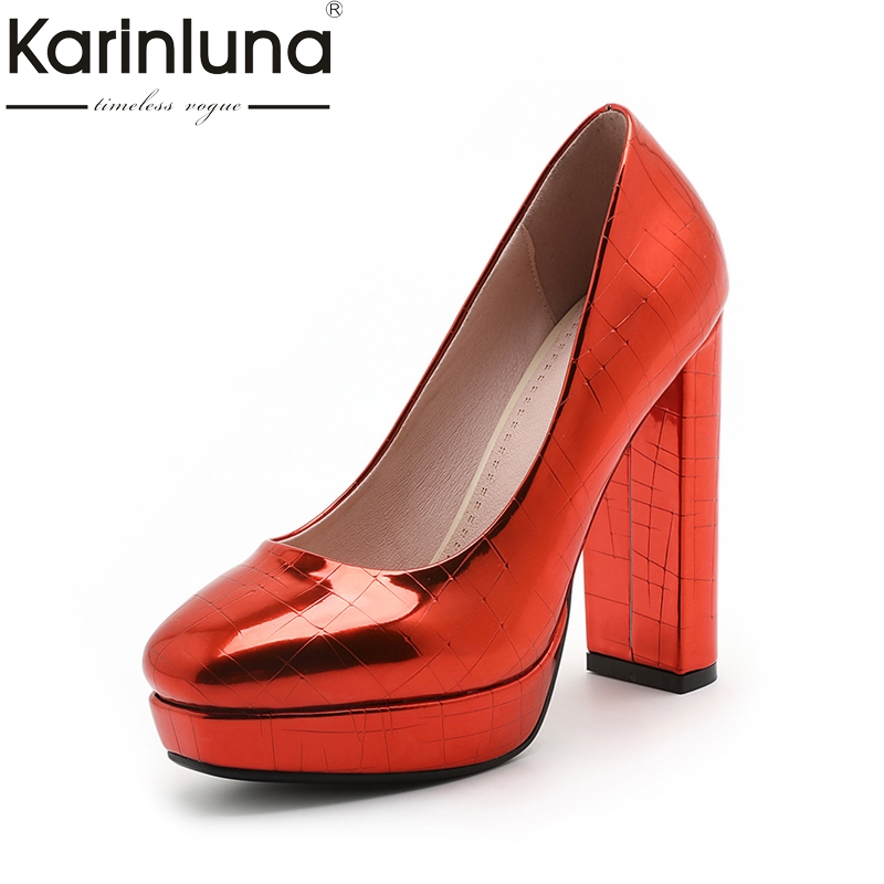 Фотография Karinluna 2018 Fashion Square Toe Slip On Platform Women Pumps Square high-heeled Pumps Red Woman Shoe Woman Size 34-39