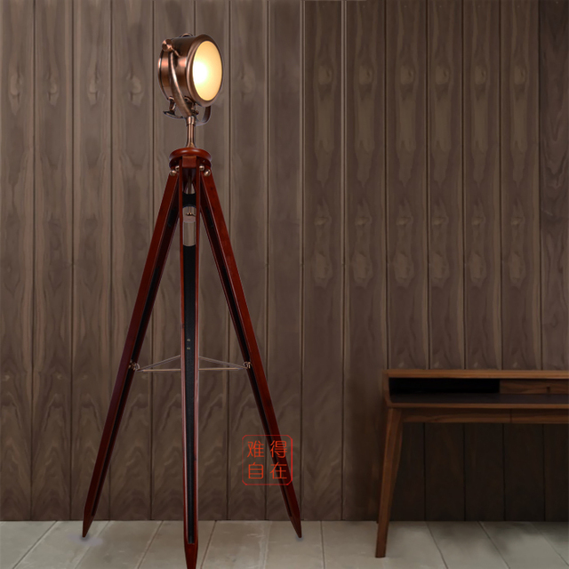 Designer Modern American Country Style Red Bronze Loft Cafe Searchlight Tripod Floor Lamp Navy