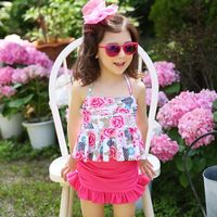 EMS DHL Free Shipping Kid 2016 NEW Flowers Floral Ruffles Separated Swimsuits Beach Wear Children Baby