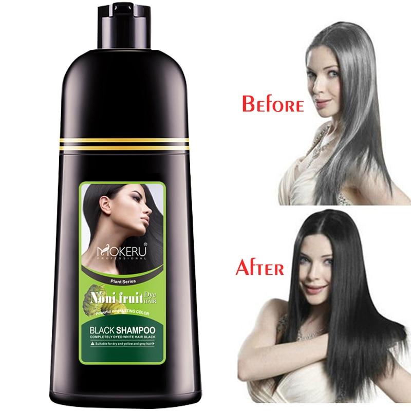 Mokeru 2pcs/Lot Natural Easy Using Permanent Organic Instant Hair Dye Shampoo Fast Black Hair Color Shampoo For Cover Gray Hair