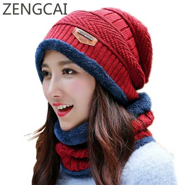 c542a4aab7e Skullies Beanies Winter Hats For Women Flecce Face Mask Cap Neck Warmer  Wool Knit Hat Set Ski Face Mask Ladies Beanie Thick Caps