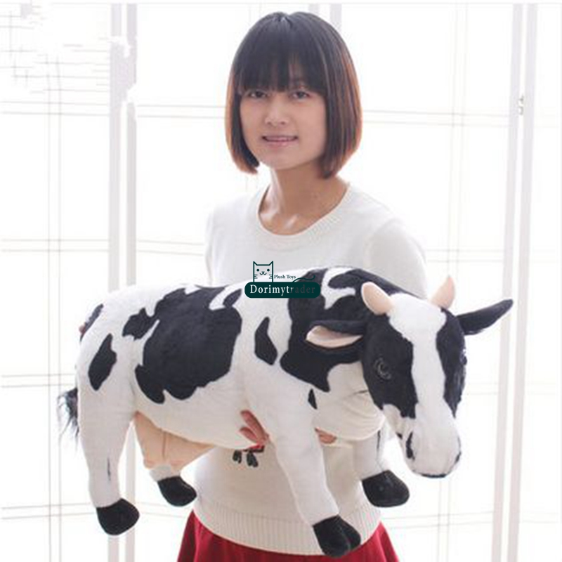 Lovely Simulation Animal Milk Cow Plush Toy Big Soft Stuffed Cow Doll Nice Gift Decoration 28inch 70cm DY60982