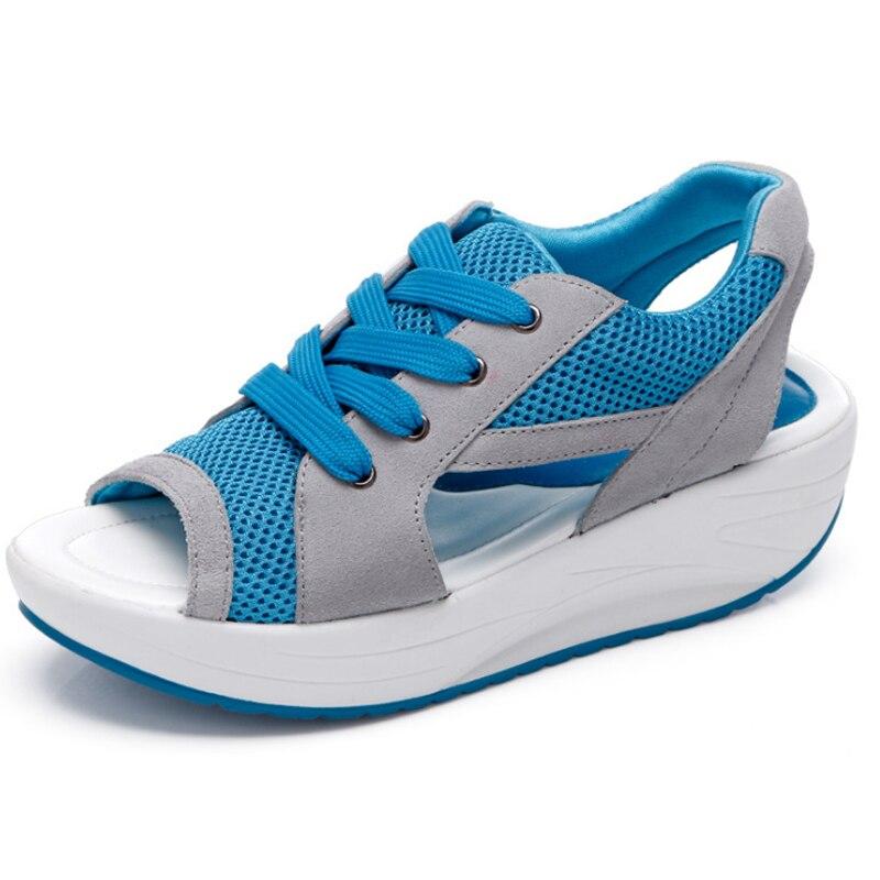 Encaje Azul rosado Zapatos out Cuñas Verano Womens Diseño verde Sandalias Malla Casual Moda Hollow 8h0072 faq0B
