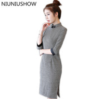 New Arrival Short Women Cotton Cheongsam Dress Chinese Ladies Handmade Button Qipao Novelty Sexy Dress Size