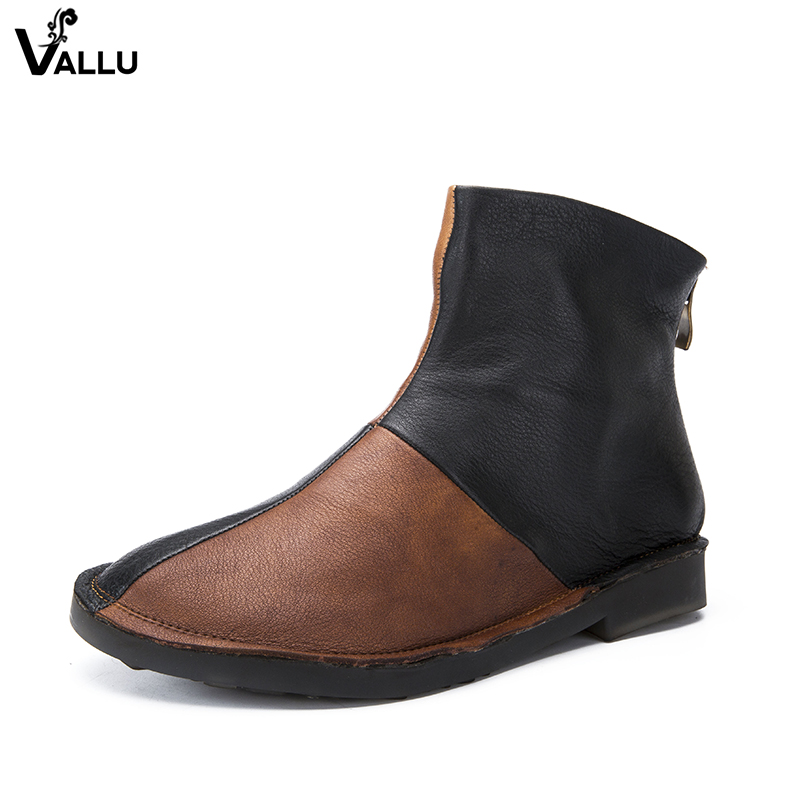Soft Leather Low Heel Boots Lady Original Leather Women' s Heel Booties Ankle Mixed Colors Back Zip Female Short Low Cut Shoes alfani new black women s size small s mesh back high low ribbed blouse $59 259