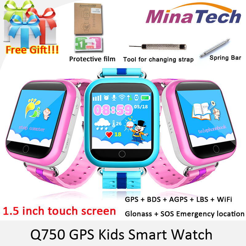 Original GPS Smart Watch Q750 Q100 Baby Smart Watch With 1.54inch Touch Screen SOS Call Location Device Tracker for Kid Safe smart baby watch каркам q60 голубые