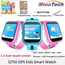 Оригинальный GPS Смарт-часы Q750 Q100 Baby Smart часы с 1.54 дюйма Сенсорный экран SOS вызова расположение устройства трекер для малыша безопасный