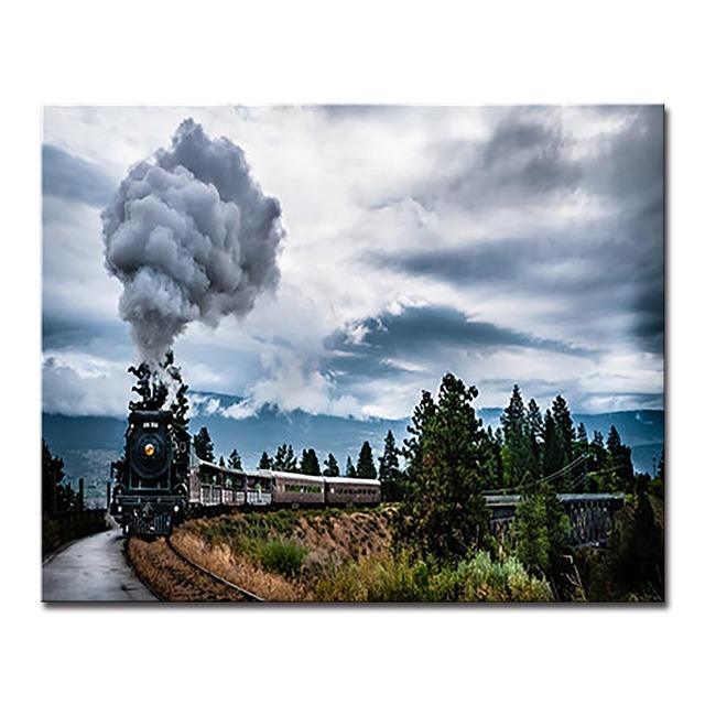 US $9 32 32% OFF|By Numbers Framework DIY Kits Coloring Train Acrylic Paint  Landscape On Canvas Cuadros Pictures For Home Decor Painting Artwork-in
