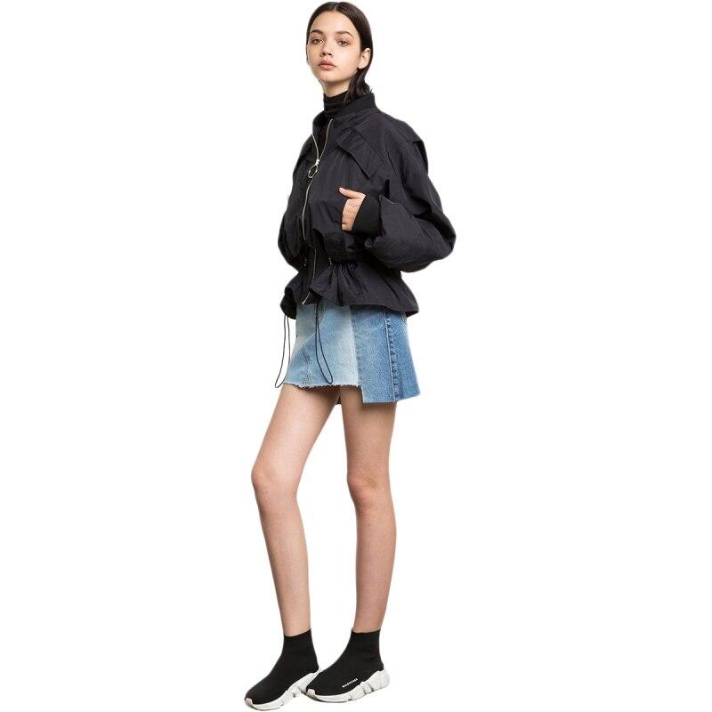 Casual Schwarz Gürtel Warten Elastische Rüschen Jacken Frauen Mode Lose Outwears Laterne Hülse Dame Mäntel