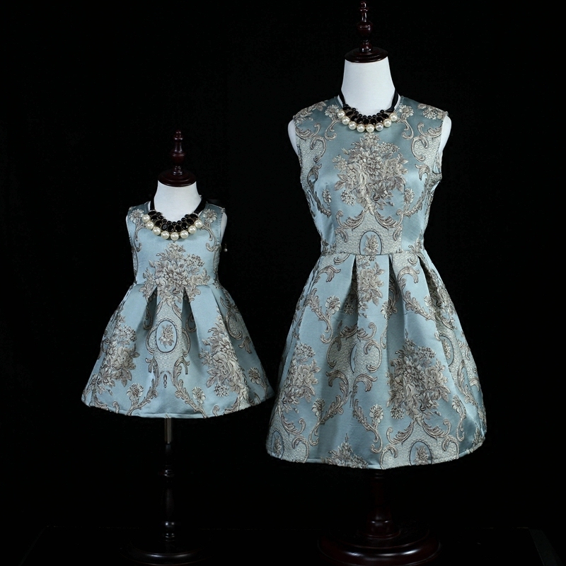 Brand blue embroidery skirts women girl sundresses family matching clothes set mother and daughter dress mom girls dresses