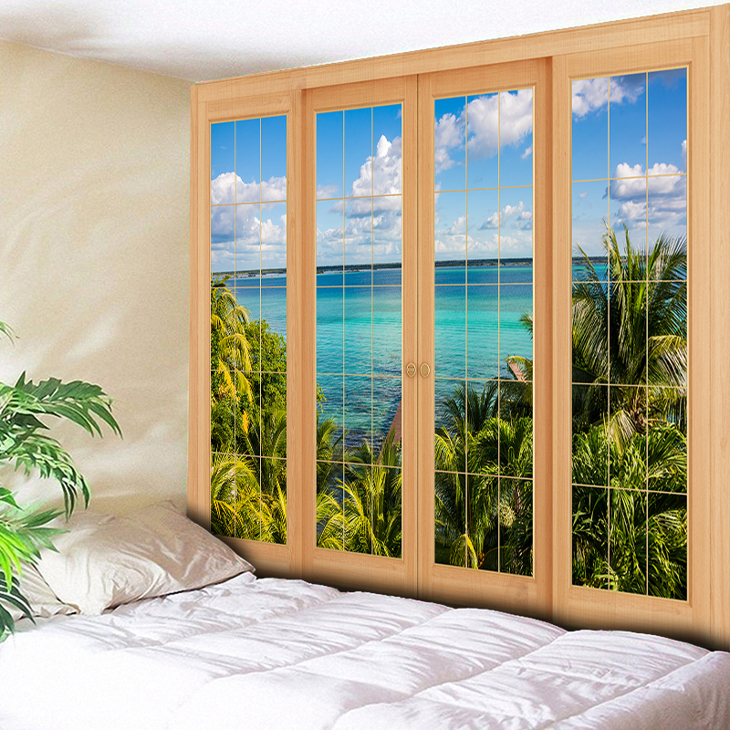 Blue Sea Tapestry Wall Hanging Chic Sky Beach Scenery Like Outside The Window Decorative Wall Carpet Hippie Big Blanket 79*59in