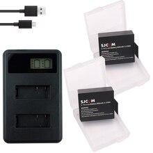 цена на 2x Batteries + USB LCD Dual charger For SJCAM SJ4000 battery SJ5000 SJ6000 SJ8000 EKEN bateria 4K H8 H9 GIT-LB101 GIT PG900 1050