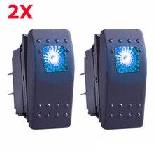 2 x Blue S2 4 Pin Waterproof 12 V 20 A Bar Rocker Toggle Switch LED Light Car Boat