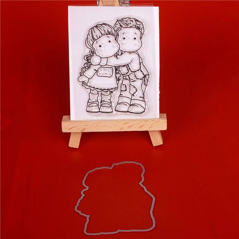 صبي وفتاة شفافة واضحة ختم / قطع يموت diy - الفنون والحرف والخياطة
