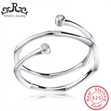 Rinntin Sterling Silver S925 Adjustable Stylish CZ Rings Con