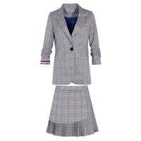 2018 Spring New Tracksuit Ladies Temperament Two Pieces Set Lapel Small Suit Plaid Zipper Skirt Suit