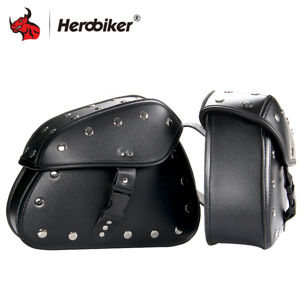 HEROBIKER 1Pair Motorcycle Bag Motor Panniers Tool Bags Tail Case Motorcycle Box Cruise Moto PU Leather Luggage Saddle Bags