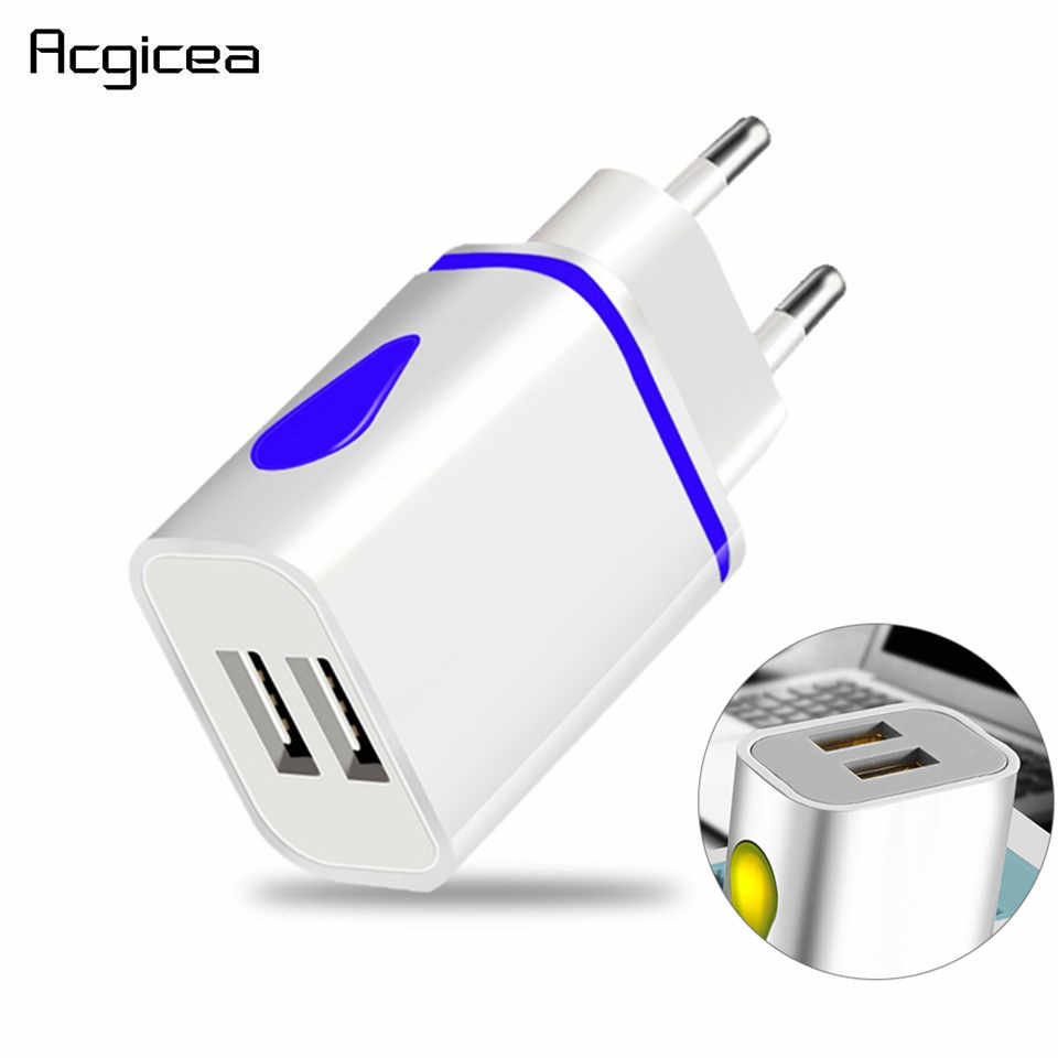 Dual USB Charger 5V 2.1A Mobile Phone Charger untuk Iphone Samsung Huawei Xiaomi Redmi Lampu LED Pengisian Adaptor Dinding charger