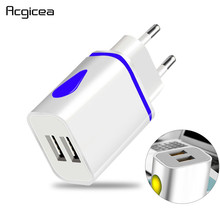 Dual USB Charger 5V 2.1A Mobile Phone Charger for iphone Samsung Huawei Xiaomi Redmi LED Light Charging Adapter Wall Chargers