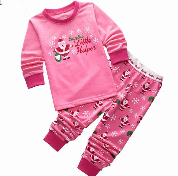 Baby Boys Girls Christmas Pajamas Kids Long Sleeve Tshirt + Pant Xmas PJS  Cotton Pajamas Children Striped Night Wear P122 b75775e73