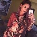 Mujeres de La Camiseta 2017 Nueva Moda Punk Rock Diseño Animal Print Moda de Halloween Lace Up Mujeres Top Camisetas Mujeres Camisetas