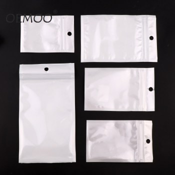 White Clear Self Seal Zipper Plastic Retail Packaging Poly Pouches Ziplock Zip Lock Bags Package With Hang Hole 9 15cm green frosted top zipper aluminum foil package bag clear plastic ziplock packaging pouches with hang hole 100pcs lot