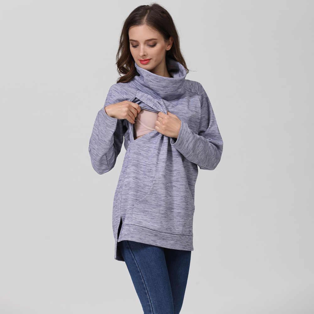 อารมณ์ Moms Elegant Maternity เสื้อผ้าความร้อนให้นมเสื้อเต่าคอพยาบาลเสื้อกันหนาว Hoodie สินค้าใหม่