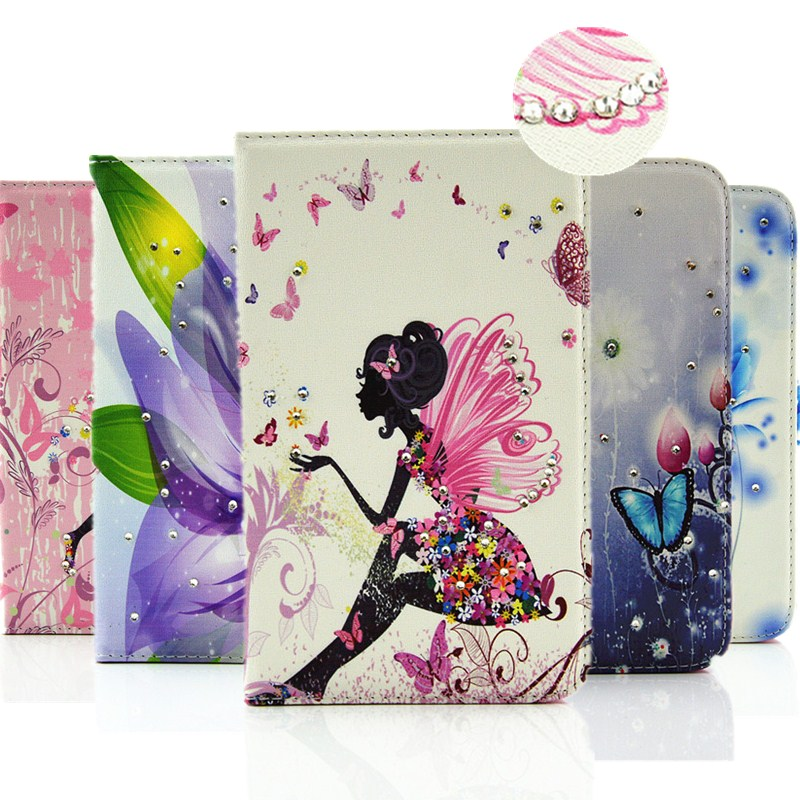 Fashion Diamond Shining Flip Leather Case Cover For Samsung Galaxy Tab S2 9.7 Tablet SM- T810 \ SM - T815 TPU Back Case Inside