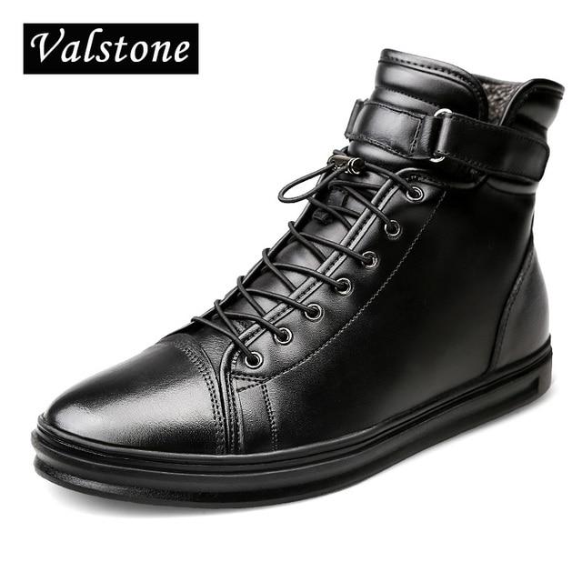 Valstone degli uomini di Alta Top stivali di Cuoio Genuini Inverno stivali  da neve caldo scarpe d34199a7a1a
