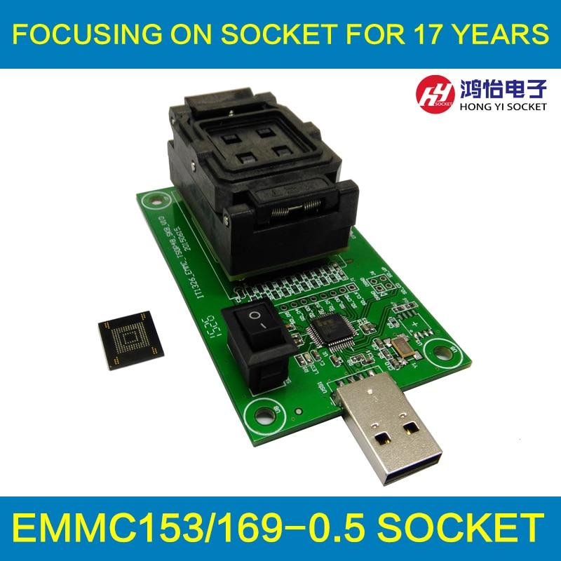 eMMC153/169 test socket with USB interface Reader size 12x18 Pitch 0.5mm for BGA169 BGA153 nand flash testing Clamshell emcp socket with sd interface for bga 221 testing size 11 5x13mm nand flash programmer clamshell structure