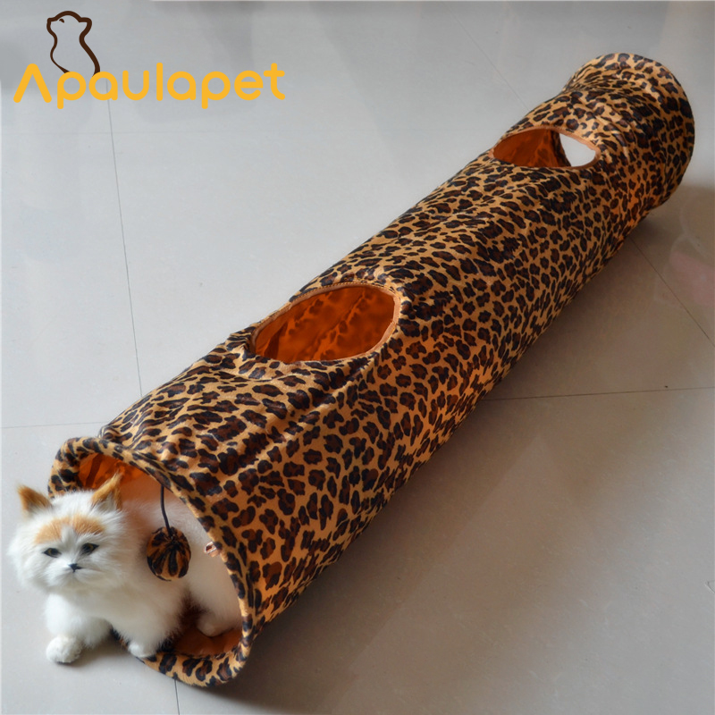 APAULAPET 120cm Tiger leopard Cat Tunnel Toy Funny Interactive Ring Of Paper Cat Toys Folding Play Toy With Ball