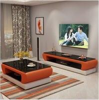 Натуральный дизайнерский стеклянный кожаный журнальный столик для гостиной + подставка для телевизора минималистичный современный прямоу...