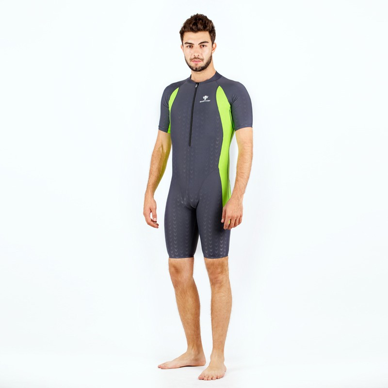 67305bb5da HXBY Short Sleeve Swimwear Mens one piece swimwear women Swimming bodysuit men s  Swimming bathing suit -in Body Suits from Sports   Entertainment on ...