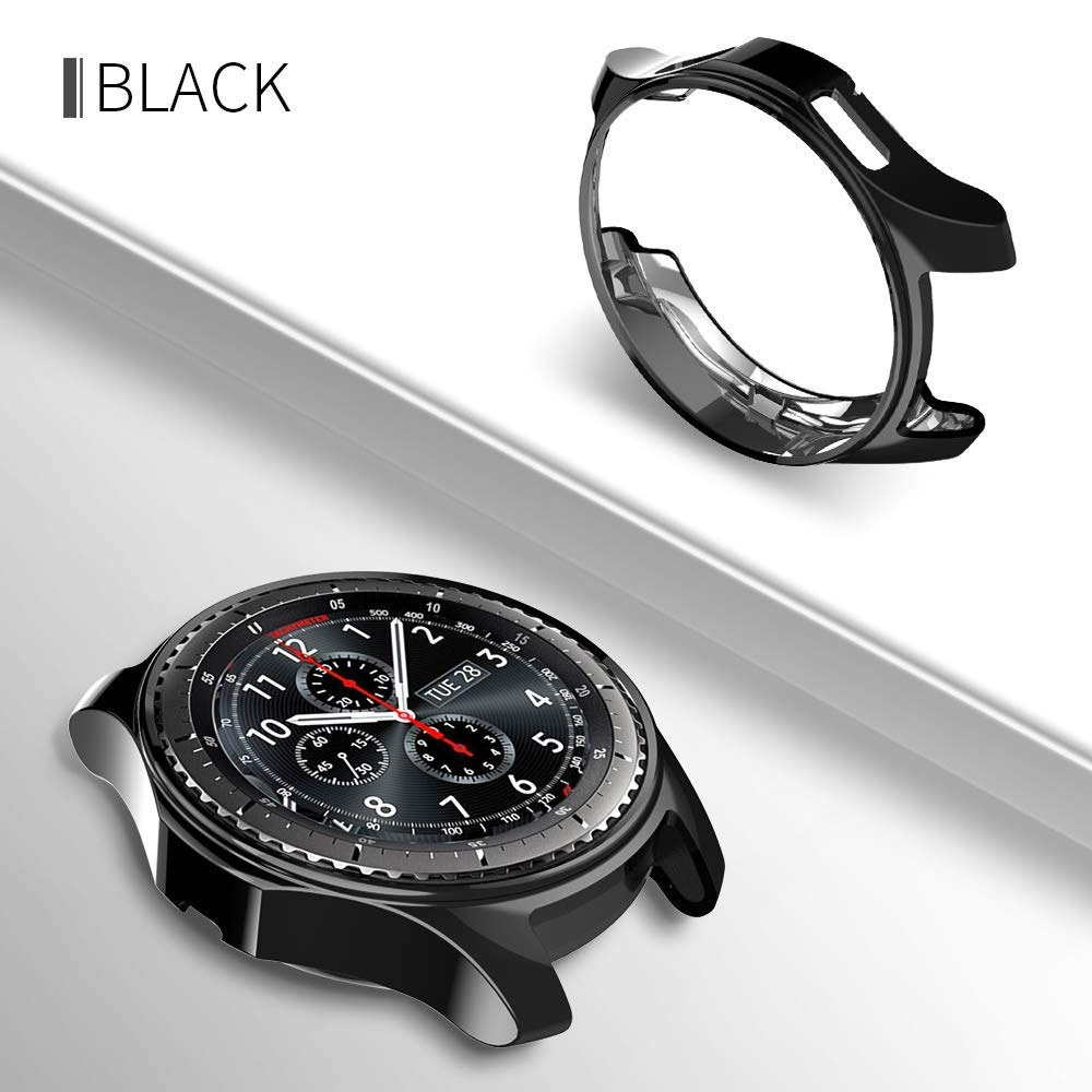 New case cover for samsung Gear S3/Galaxy Watch 46mm frontier soft TPU plated All-Around protective cases shell frame 22mm protective tpu back case for samsung galaxy s3 i9300 black