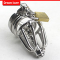 Small size Male penis metal lock,silica gel catheters,stainless steel male chastity lock belt,small novelty cage
