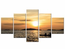 5Pieces Sunset Tropical Beach Ocean Sea Waves Art Silk Poster Print Skyline Landscape Wall Pictures Room Decor Framed J009-073