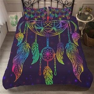 Image 1 - Bettwäsche Set 3D Druckte Duvet Abdeckung Bett Set Dreamcatcher Böhmen Hause Textilien für Erwachsene Bettwäsche mit Kissenbezug # BMW01