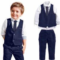 Garçons Gentleman costumes de mariage chemises + gilet + pantalon Long + cravate vêtements 1 Set nouveau