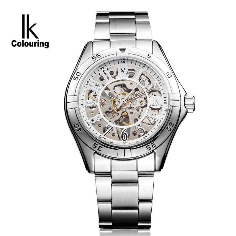 IK Luxury Men's Montre Homme Skeleton Auto Mechanical Watch Wristwatch Gift Box Free Ship fosining luxury montre homme watch men s auto mechanical moonpahse genuine leather strap watches wristwatch free ship