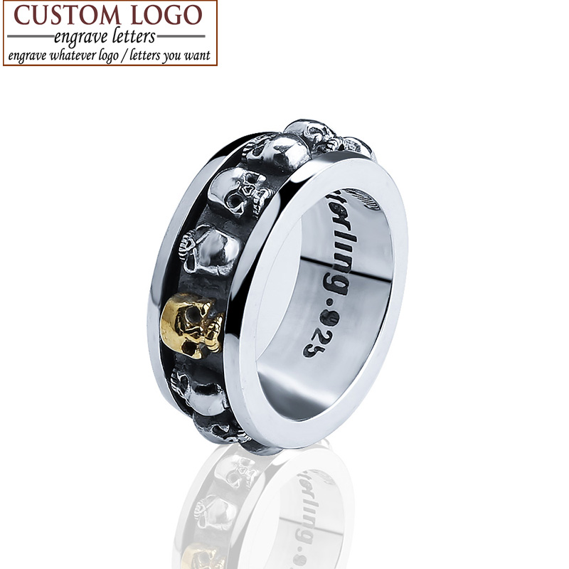 sterling silver jewelry 925 sterling silver vintage rings for women cool retro rotatable gold skull ring men engrave name logo