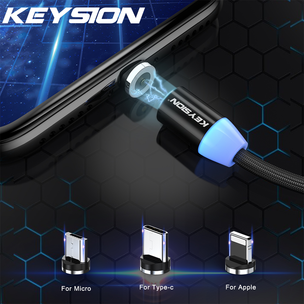 KEYSION Magnetic-Cable Lightning Micro-Usb Type-C For iPhone X Xr Xs-Max 1m 2m 2A Fast-Charge