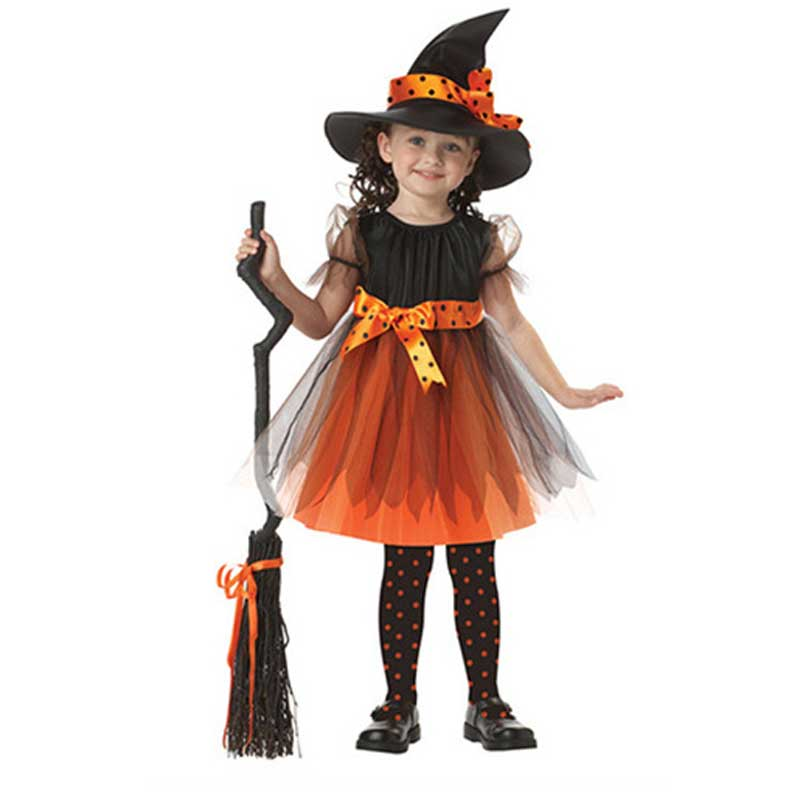 Girl Dress Cosplay Halloween Costumes for Girls 1 Witch Dress + 1 Hat Cap Princess Party Dresses Baby Kids Children Clothing