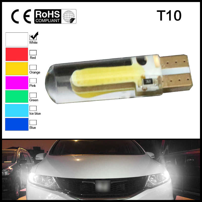 2PCS T10 W5W LED car interior light COB silicone auto  parking bulb for lada car styling Signal lamp 12V 194 501 Side Wedge