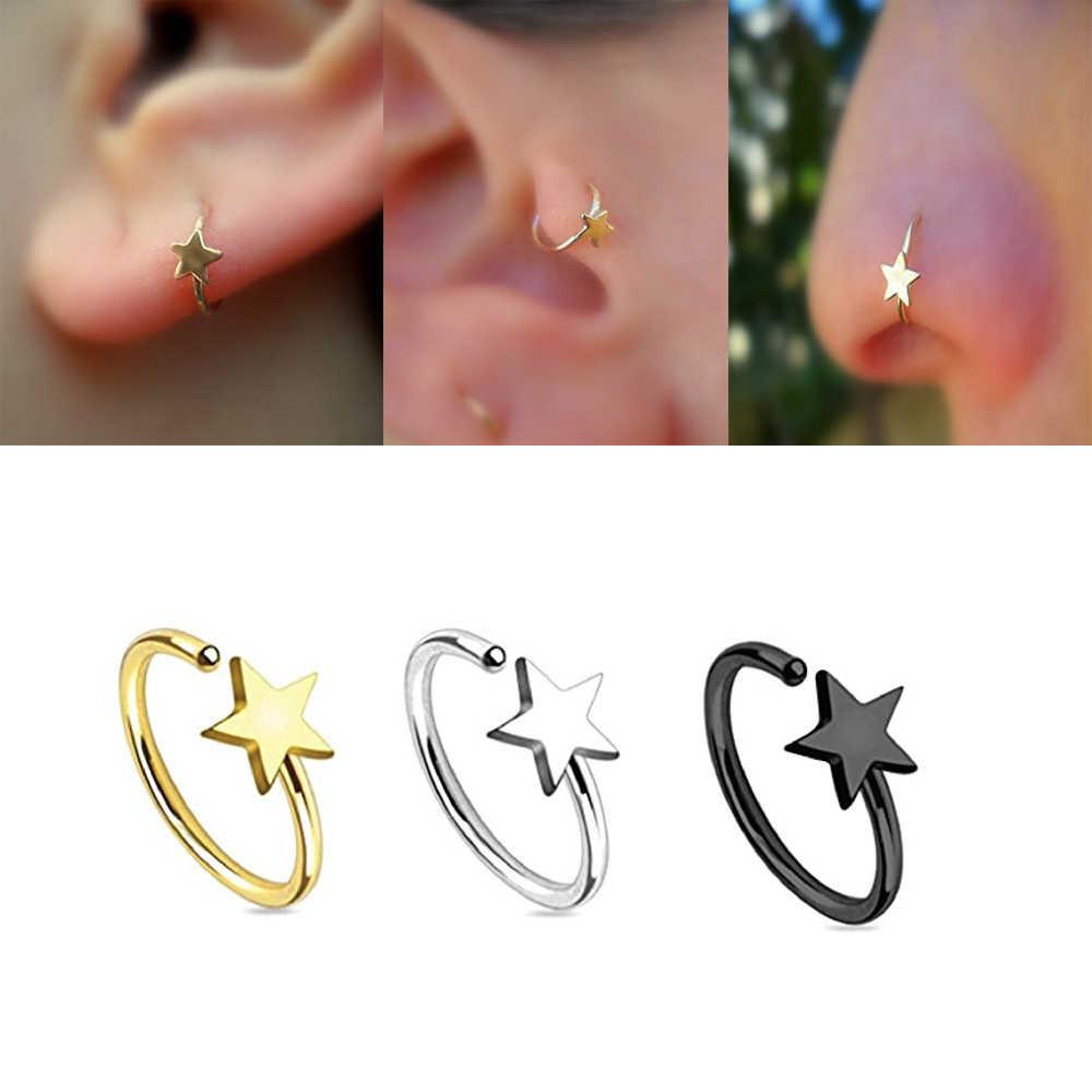 7 יחידות חישוק האף כוכב מוצק סליל אוזן סחוס Tragus עגיל Labret טבעת פירסינג תכשיטי גוף 16 גרם & 20 גרם