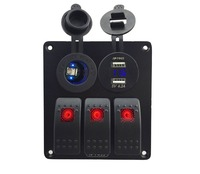 DC12V 24VPower Socket Double USB 4 2A Power Outlet Charger Voltmeter Socket Gang Red Rocker